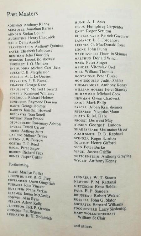 Past Masters list
