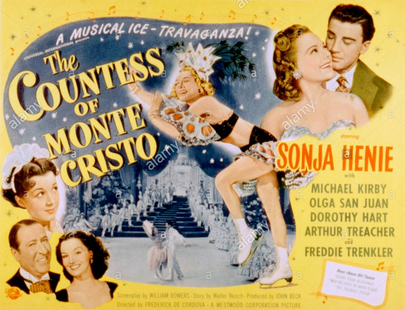 THE COUNTESS OF MONTE CRISTO, Olga San Juan, Arthur Treacher, Dorothy Hart (left), Sonja Henie, Mich