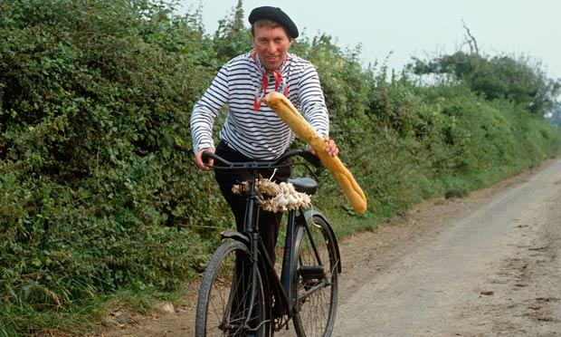 Man on old bike