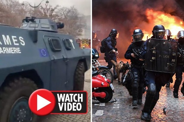 Armoured vehicles bearing EU flag Deployed Paris in sign European Army ALREADY created