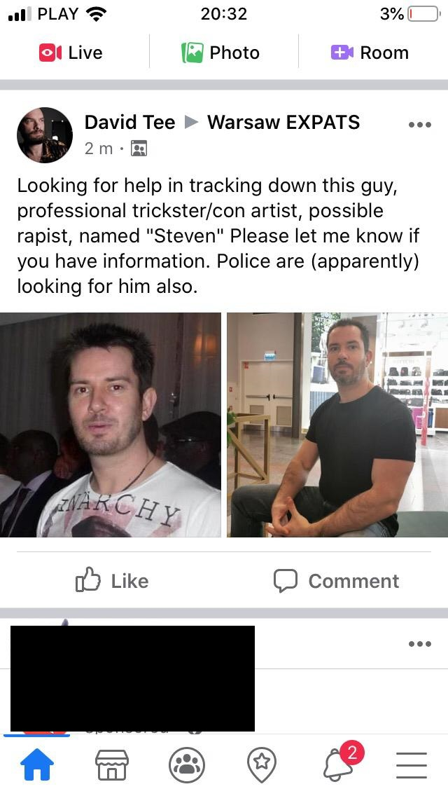 David Tee snitching post on FB group